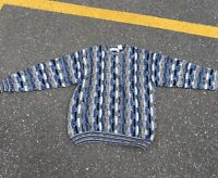 Vintage 90s Rare Norm Thompson Italy Made Knit Coogi Style Sweater Size Large