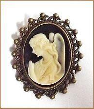 Bronzierte Gemmen Brosche mit Engel, Schutzengel Kamee, Cameo, Gemme, Vintage