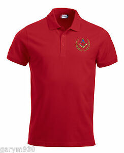 Red polo pique embroidered with Masonic  square & Compass design ideal for golf