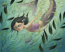 8x10 archival PRINT - Mermaid - Child Illustration Summer Fantasy Digital Art