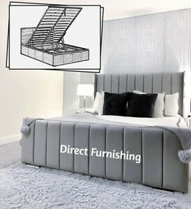 Plush Velvet Wingback Bed With Storage, Panel Storage Bed, Ottoman Gaslift Bed