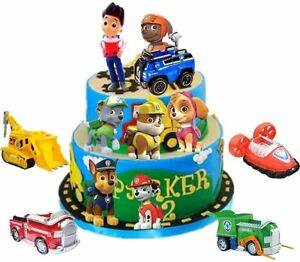 12pcs of Cake Topper for Paw Patrol Cake Toppers Figure Set Paw with Vehicles