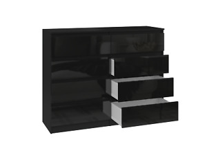 MODERN - Black Gloss Fronts - Chest Of Drawers Bedroom Furniture 2 - 8 Drawers