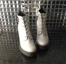 "Doc Dr Martens 8 Persephone High 4"" Heel Ankle Gray Laced Boots Shoes Booties"