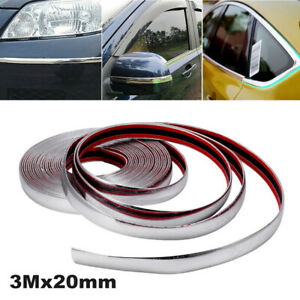3Mx20mm Car Chrome Moulding Trim Strip Protector For Grille Window Door Bumper