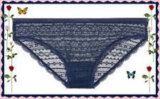 XLarge XL Navy Blue All Over Lace Lacie Nylon Victorias Secret BIKINI Pantie