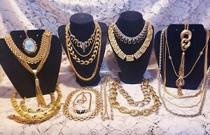 21 Piece Modern and Vintage Goldtone Mixed Necklace Lot - Monet