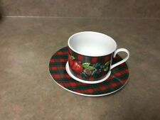American Atelier China Apple Plaid 5036 Pattern Cup & Saucer Set