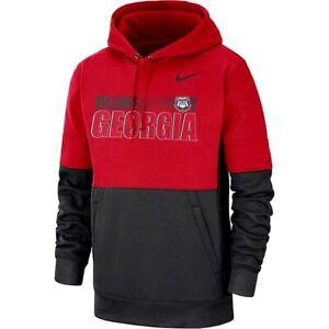 New Men's Nike Dri-Fit Georgia Bulldogs Red Therma Hoodie Sz L CQ5547-657 $80