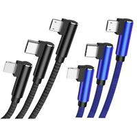 RAXFLY 3 in 1 Micro Type-C 8 Pin QC 3.0 USB Charge Cable for Android iPhone XR X