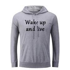 Wake Up & Live Funny Hoodies Mens Womens Sweatshirt Sarcastic Slogan Hoody Tops