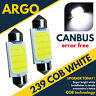 2X WHITE COB LED 38MM C5W 239 272 BULB NO ERROR INTERIOR REG NUMBER PLATE LIGHT