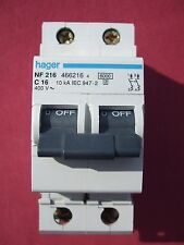Réf NF216 OU NFN216 DISJONCTEUR HAGER 2P 16A 6/10kA COURBE C 230;400V NEUF