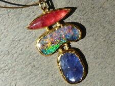Collier or 18 et 24 ct,1 opale d'Australie, 1 rhodonite, 1 tanzanite