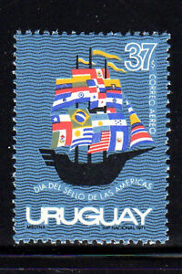 URUGUAY #C386  19472  SHIP W/FLAGS FORMING SAILS  MINT  VF NH  O.G