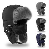 Womens Mens Winter Outdoor Flap Warm Fur Hat Plush Ushanka Trooper Snow Ski Cap