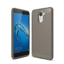 Huawei Y7 2017 Hülle Case Handy Cover Schutz Tasche Schutzhülle Carbon Etui Grau