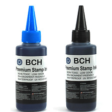 BCH Premium Stamp Ink Refill for Stamps or Stamp Pad BLACK BLUE COMBO 2.5oz Each