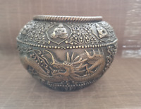 China handwork Copper carven Lucky Dragon buddha kettle Tank Jar canister Pot