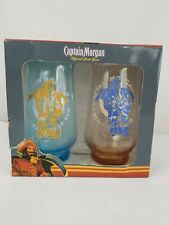 "Nice! Captain Morgan ""Recipes"" Tulip Hi-Ball Glass Set of 2 New in Box!"