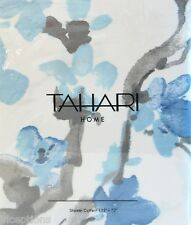 Tahari Fabric Cotton Blend Shower Curtain Printemps Floral Blue & Grey - NEW