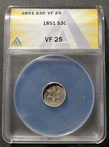 1851 Silver Three Cents ANACS VF 25