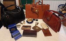 Lot de 3 sacs à main en cuir et accessoires vintage