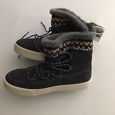 Toms Womens Boots Sz 8.5 Gray Suede Alpine Waterproof Faux Fur New