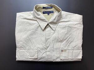 Vintage Tommy Hilfiger Mens Shirt Size XL Short Sleeve Button Up Nylon Blend