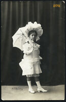 Abbazia, sweet girl w parasol, by Jelussich, Vintage Photograph, 1907.