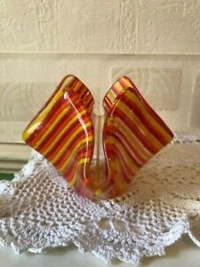 Vintage Glass Vase Ruffled Candy Striped Red Yellow Orange