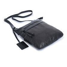 New Lusso Genuine Italian Leather Handbag - Beautiful Black with Embossed Python