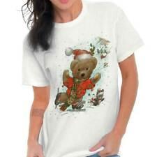 Santa Claus Teddy Bear Ice Skating Christmas Gift Xmas Classic T Shirt Tee