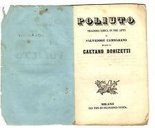 Libretto Opera Antico Poliuto Tragedia Lirica 3 Atti Cammarano Musica Donizetti