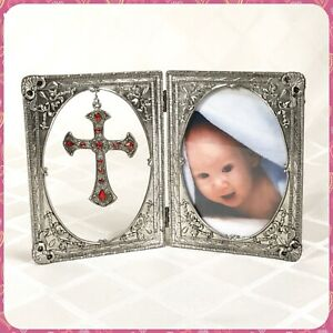 NEW Metal Folding Embellished Pendant Cross Baby Photo Frame Table Display Gift