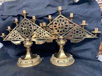 Pair Jeweled Brass Candelabra Vintage Fraefel Swiss Large