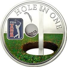 Cook Islands 2013 $5 PGA TOUR - Hole in One 30g 65mm Silver Coin with Cut-out