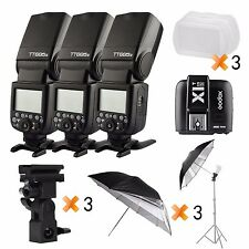 3* Godox TT685S 2.4G HSS TTL II GN60 Flash + X1T-S Trigger + Bracket for Sony