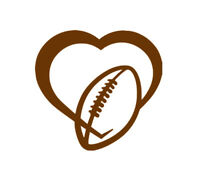 Football Love Heart Vinyl Decal , Car / Window Sticker , FREE Shipping