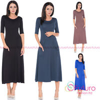 Ladies Casual Wear to Work Round Neck Half Sleeve Tea Length Office Dress FM30