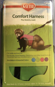 Kaytee Brown Comfort Harness Plus Stretchy Leash Size Large Green  NEW
