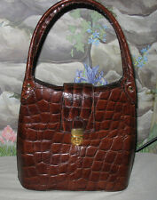 New BELLE ROSE Brown Croc-Print Leather Handbag Shoulder Bag