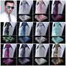 "Floral 2.75"" Slim Narrow Tie Necktie Men Pocket Square handkerchief set Suit #E8"