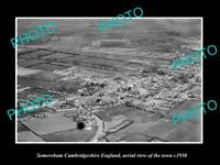 OLD LARGE HISTORIC PHOTO OF SOMERSHAM ENGLAND,  AERIAL VIEW OF THE TOWN c1930 2