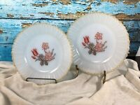 TERMOCRISA Vintage Milk Glass Floral Salad Plates from Mexico Mid Century