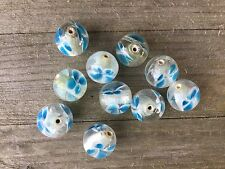 14 mm round blue flower lamp work cased glass beads - 10 bead pack