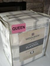 "Woolrich QUEEN XDeep flannel sheet set - black and ivory plaid 17"" H mattress"