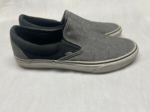 VANS Off The Wall Gray and Black Canvas Slip On Sneakers Men's 9.5/Women's 11