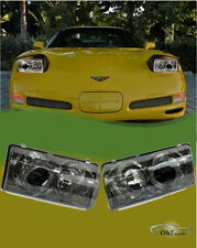1997 2004 Chevy Corvette C5 Front Headlights Halo Projector Smoke Housing Set