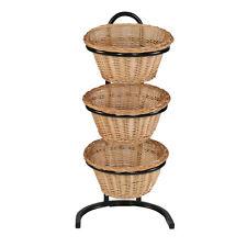 Wicker Basket Rack Willow Floor Display Bakery Stands 3-Tier Store Fixture New
